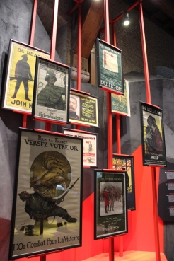 Propaganda posters on display in the exhibit.
