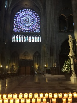 Inside the Cathedral of Notre Dame in Paris, France.