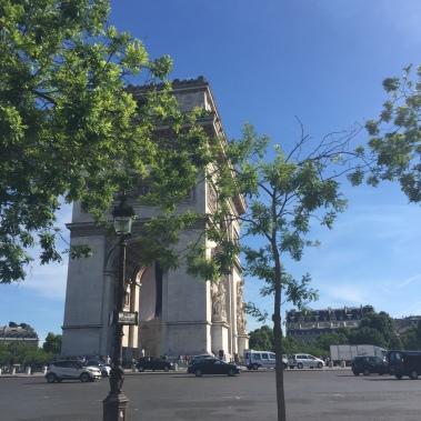 The Arc de Triomphe in Paris, France.
