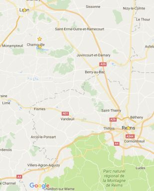 Zoomed in, the location of our small road trip in Northern France.