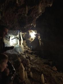 Europe's largest bending stalactite and non-connected column inside Grotte de Dinant La Merveilleuse.