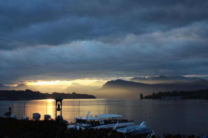 Sunrise over Lake Lucerne.