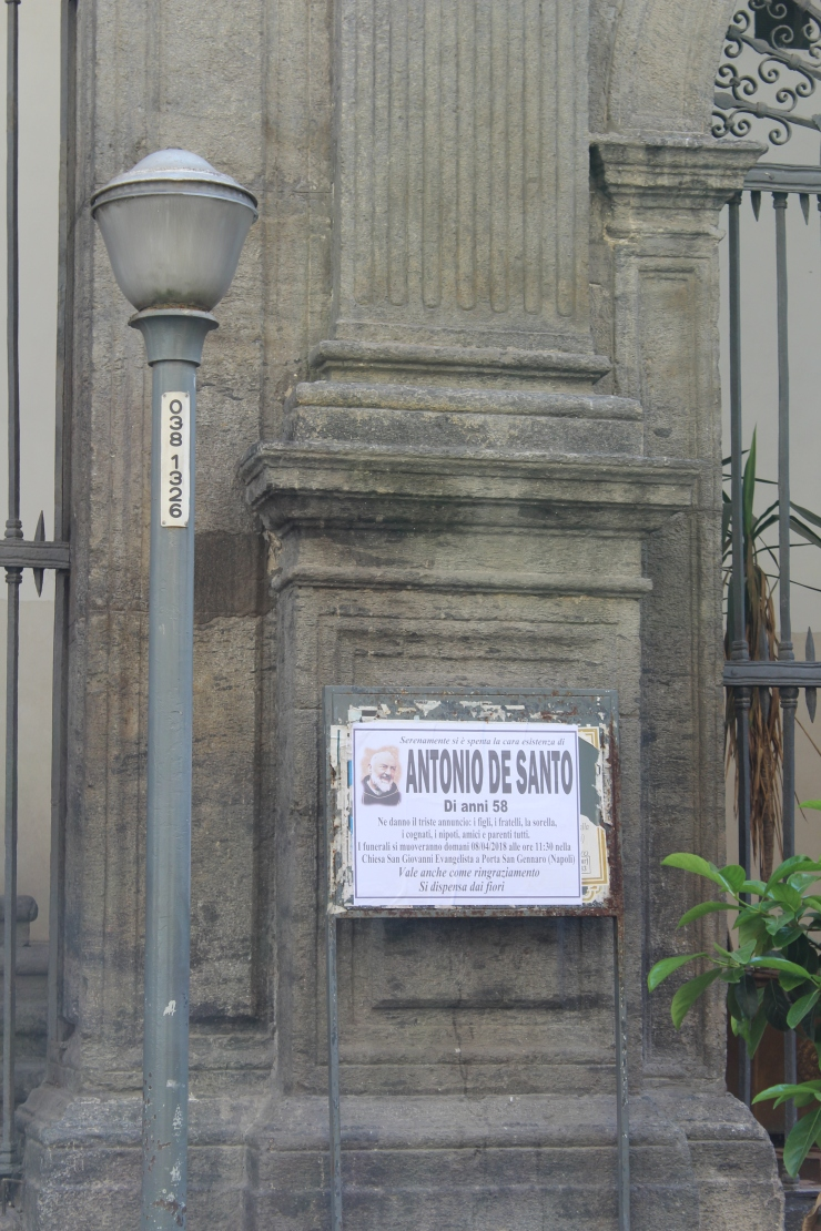 Death notice in Naples