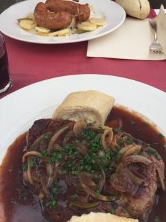 Beef steak with struklji dumplings at Panorama Restaurant.