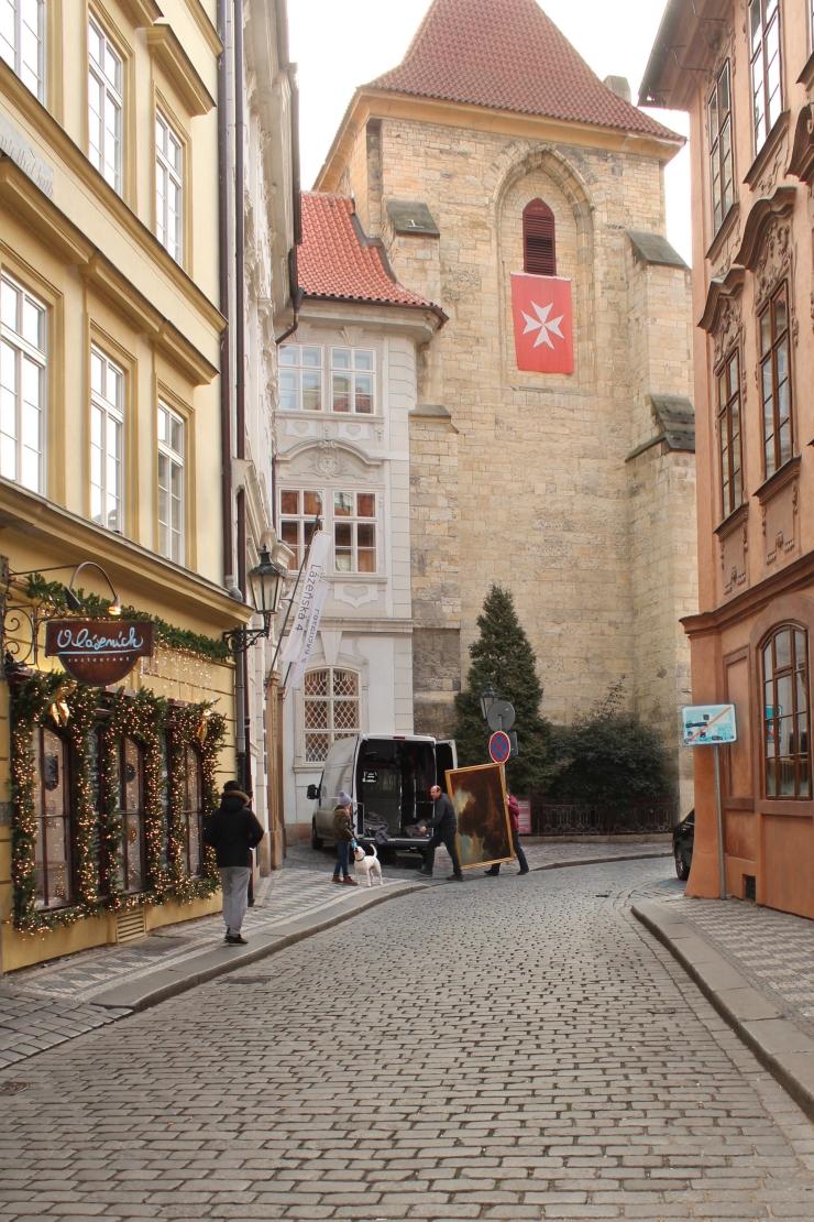 A street scene in Prague.