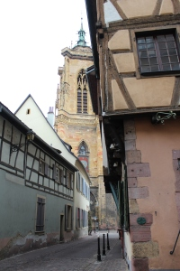Colmar alley and church